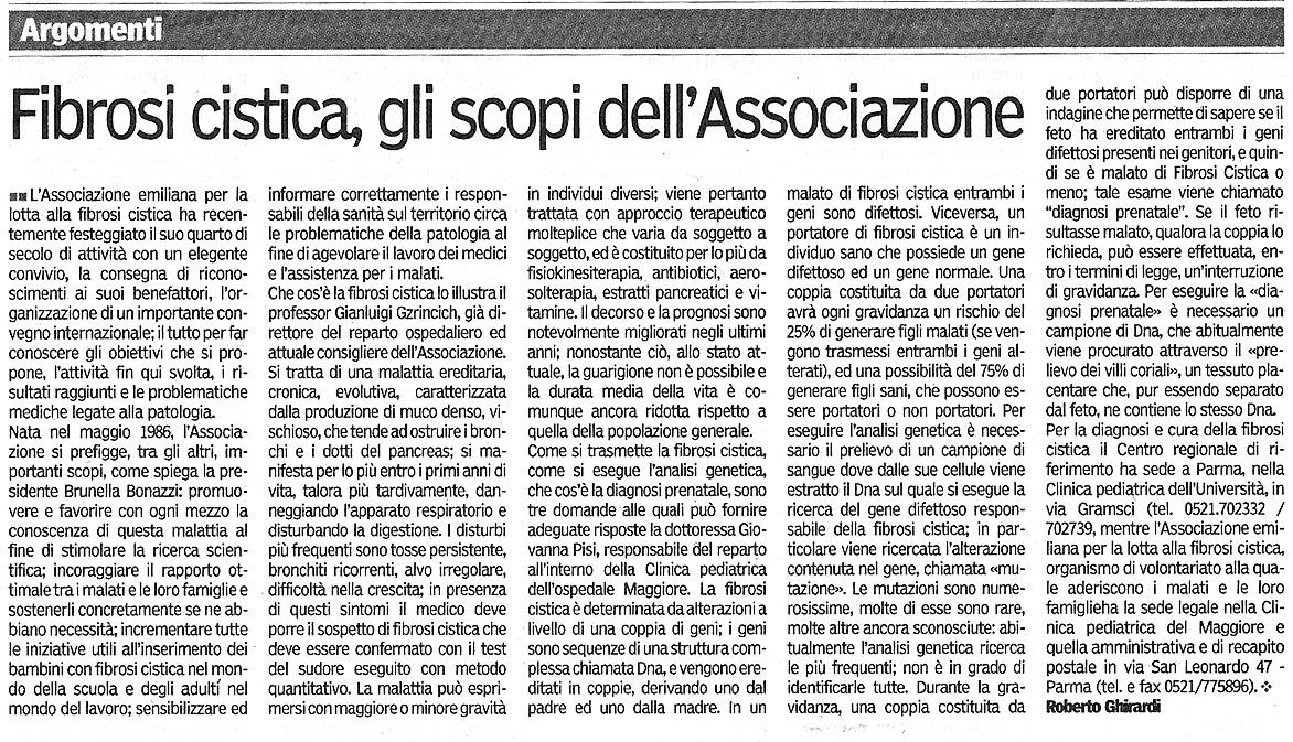 Articolo di Roberto Ghirardi su Gazzetta di Parma