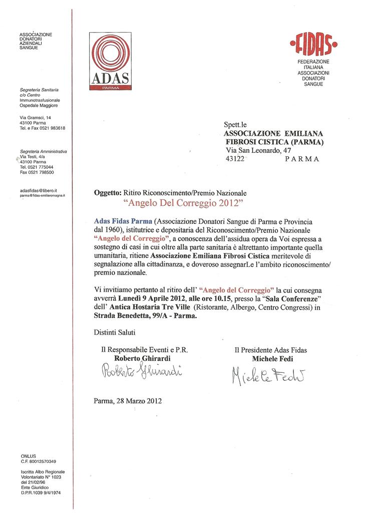 Premio Angelo del Correggio 2012 alla nostra Associazione