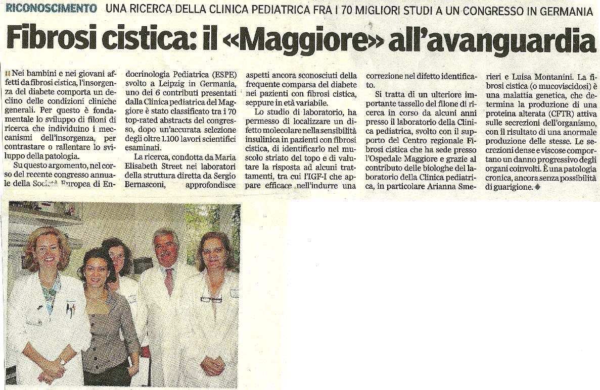 Importante riconoscimento a una ricerca della clinica pediatrica