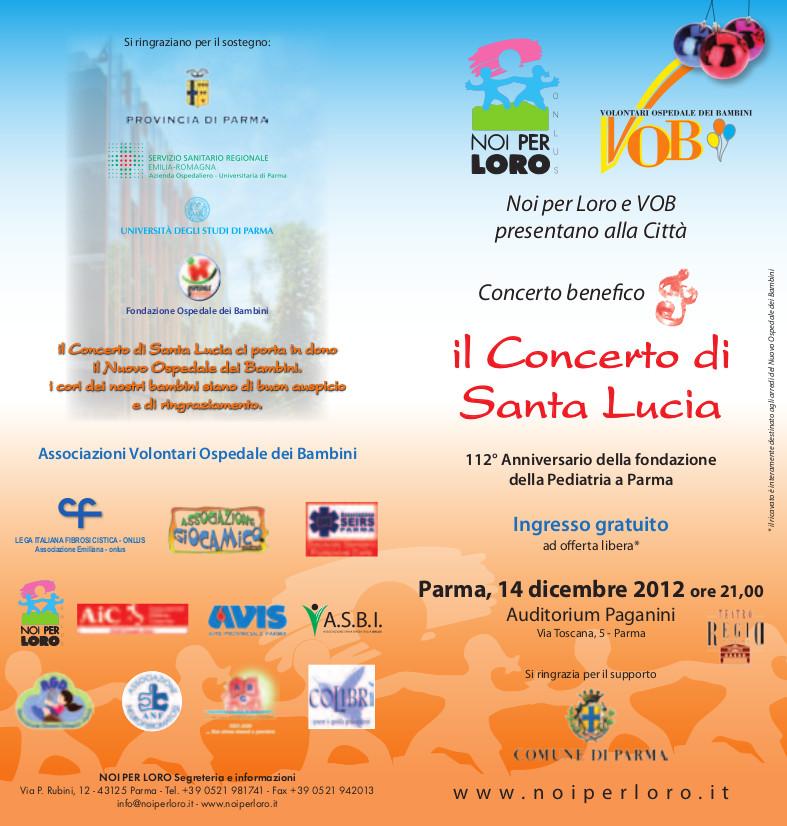 Concerto benefico di Santa Lucia a Parma il 14 dicembre