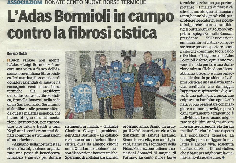 L'Adas Bormioli in campo contro la fibrosi cistica