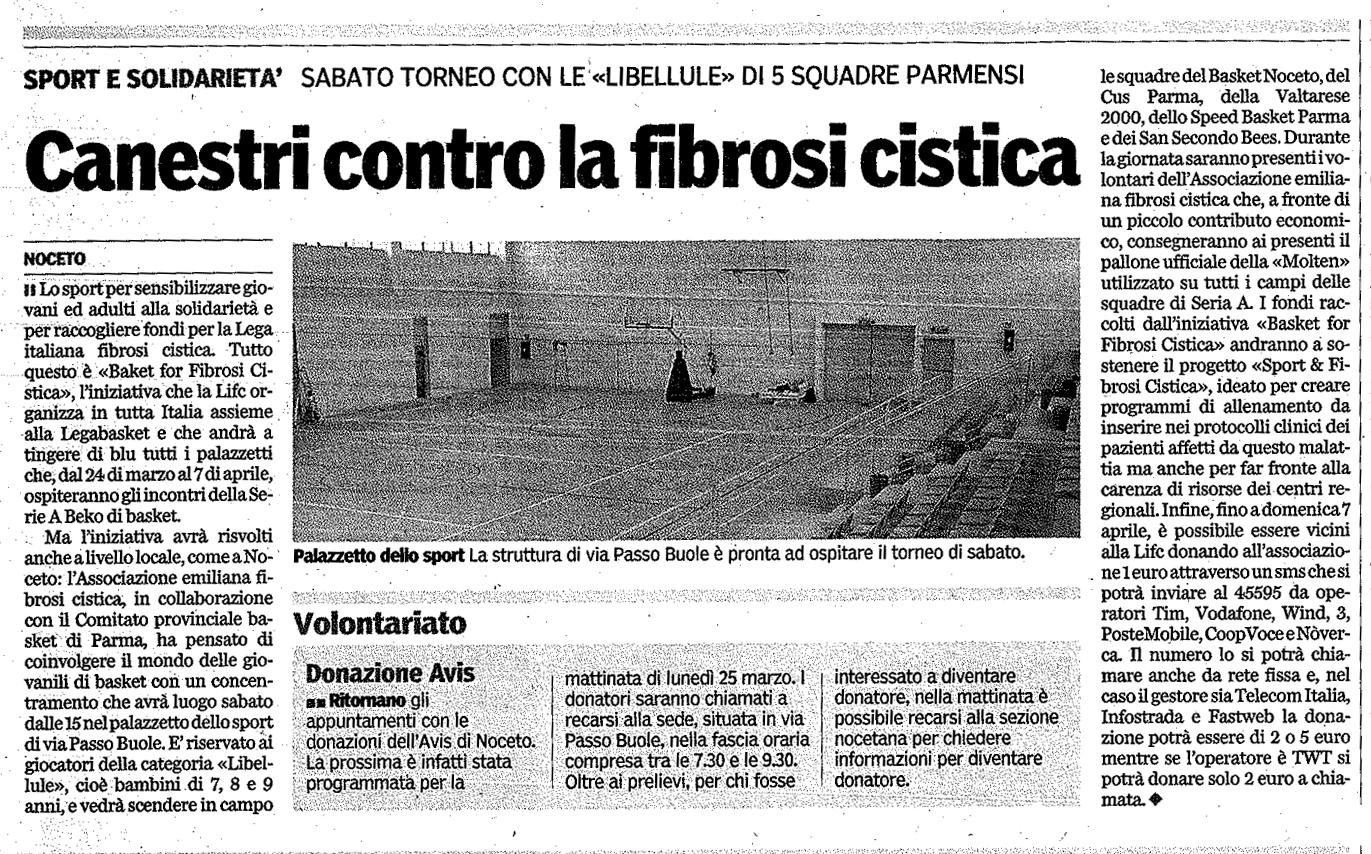 Canestri contro la Fibrosi Cistica: torneo a Noceto con 5 squadre