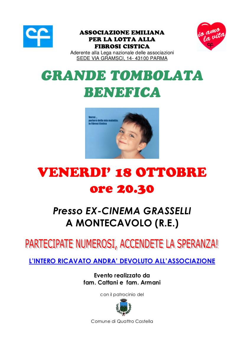 Tombolata benefica il 18 ottobre a Montecavolo (RE)