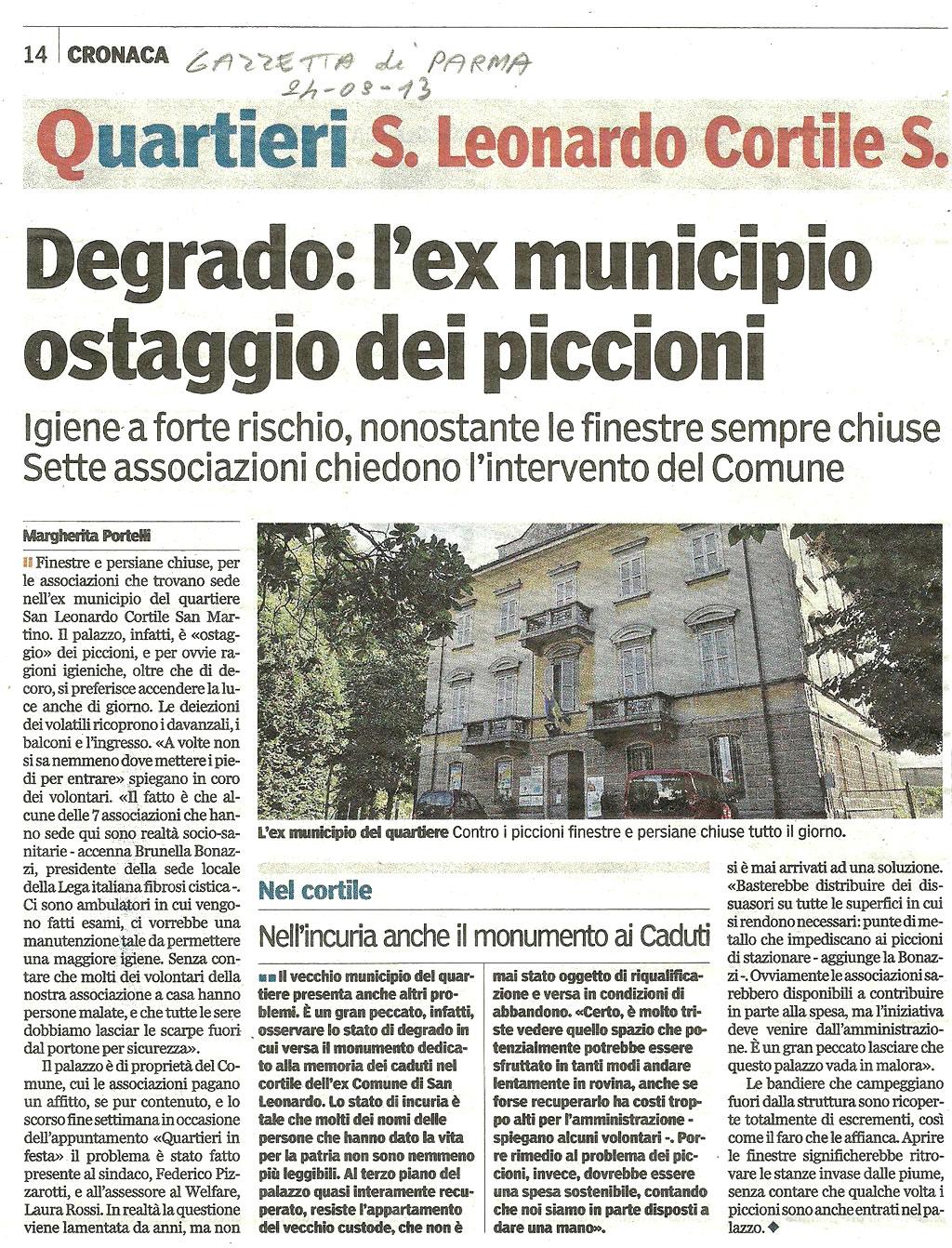 Parma: segnalato il degrado dell'ex municipio, ostaggio dei piccioni