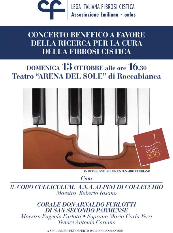 Concerto benefico domenica 13 ottobre a Roccabianca (Pr)